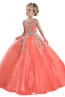 Wholesale ball gowns crystal teens resale online - New Little Girls Pageant Dresses for Teens Princess Tulle Jewel Crystal Beading Coral Kids Flower Girls Dress Birthday Gowns