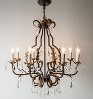 Wholesale vintage iron table lamps resale online - American loft chandelier restaurant dining room table hanging lamp creative retro crystal lamp old rust iron crystal chandeliers LLFA