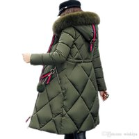 Wholesale big parka jacket women resale online - Big fur winter coat thickened parka women stitching slim long winter coat down cotton ladies down parka down jacket women