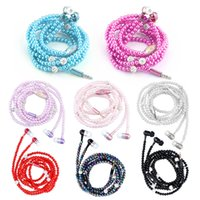 Wholesale rhinestone microphone for sale - Group buy 8 Colors Pink Girl Rhinestone Jewelry Pearl Necklace Earphones with Microphone Earbuds for Samsung Xiaomi Brithday Gift