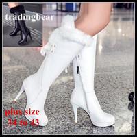 sobre as botas de pele branca do joelho venda por atacado-Charm2019 Inverno Decente Nupcial Sapatos De Casamento Preto Branco PU Botas De Pele De Couro Sobre O Joelho Botas Plus Para 41 43 44