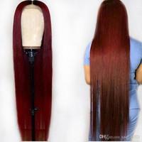 peluca roja de encaje brasileña al por mayor-Ombre 1B 99J Burdeos rojo coloreado 13 * 6 Pelucas delanteras del cordón del pelo humano 360 Frontal Preplucked Remy brasileño recto para la mujer negra