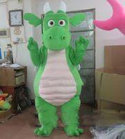 vestido de dinossauro adulto venda por atacado-2019 Desconto venda de fábrica Verde Dinossauro Traje Da Mascote Fancy Party Dress Halloween Carnaval Trajes Tamanho Adulto