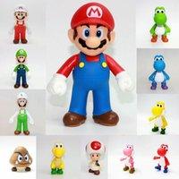 mario arabaları toptan satış-Süper Mario action figure plastik ev doğum günü pastası araba dekorasyon o Yoshi Luigi Koleksiyon Model Oyuncak