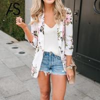 koreanische casual anzug frauen großhandel-Korean Fashion Blazer Frauen Blumendruck Anzug Jacke Blazer vorne offen Langarm OL Arbeit Freizeitmantel weibliche Oberbekleidung Weiß
