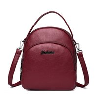 Wholesale backpacks for womens for sale - Group buy 2020 Casual Womens Soft Leather Mini Backpack Three layer zipper School Bags For Teenage Girls Solid Back pack mochila feminina