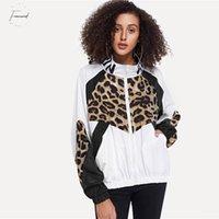 casaco exterior longo venda por atacado-Carta e do revestimento da cópia do leopardo convencional Jacket 2019 Casual Branco Colorblock Primavera Outer Zipper Fique Collar manga comprida Outono