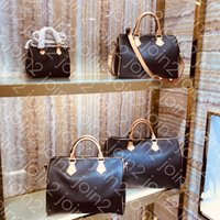 Wholesale gold christmas flower for sale - Group buy SPEEDY BANDOULIERE cm High Quality Fashion Womens Tote Top Handle Shoulder Cross Body Bag Brown White Waterproof Canvas M41112 cm