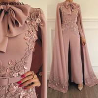 sexy rosa spielanzug großhandel-New Blush Pink Jumpsuit Strampler für Frauen Dusty Lace Appliques Prom Pants Dubai Arabisch Abendkleider 2019