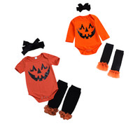 Wholesale lace short sleeve romper resale online - Newborn Baby Romper Sets Infant Baby Halloween Pumpkin Printed Short Sleeve Onesies Jumpsuit Baby Girl Lace Foot Cover With Bow Tie Headband