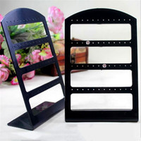 Wholesale black earring displays stand resale online - Portable Holes Earrings Ear Studs Display Organizer Stand Black Plastic Earrings Holder Showcase Jewelry Organizer Box