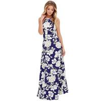 ingrosso abiti estivi della boemia-Abito Bohemian Donna Summer Long Maxi Evening Party Dress Stampa Beach Sundress Abiti Halter Straight Empire