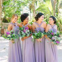 Wholesale petite bridesmaid dresses elegant online - 2019 Elegant Lilac A line Bridesmaid Dresses With Halter Chiffon Sleeveless Maid of Honor Vestido De Novia