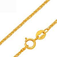 collar de cadena de oro puro de 18k. al por mayor-Rinyin Joyería Fina Genuino 18k Amarillo Collar de Oro Puro Au750 Craved Big Wheat Chain 16