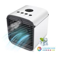 mini leds lumières achat en gros de-Ventilateur de climatiseur portatif mini-ventilateurs 2019 Refroidisseur d'air à 7 LEDs couleur USB P0412