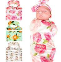 Wholesale organic bedding online - min sets Kids Muslin Swaddles Ins Wraps Blankets Nursery Bedding Newborn Organic Cotton Ins Floral Print Swaddle Headband two piece sets