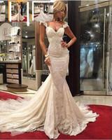 Wholesale beautiful mermaid wedding dresses train resale online - 2020 New Lace Applique On Satin Vestido De Novia Bridal Gown Robe de mariage Beautiful Lace Mermaid Wedding Dresses