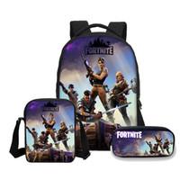 Wholesale anime pc case for sale – best VEEVANV Anime battle royale Print Backpacks pencil case SET school bagpack for kids boys Shoulder Bags Mochilas