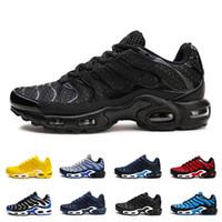 Wholesale tn kpu resale online - Size Tn Shoes Mens Trainers KPU Material air Cushion Tn Sports Sneaker Chausseures Homme noir Zapatillaes