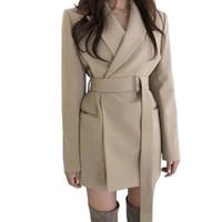 costume femme coréenne achat en gros de-manteau de style coréen élégant manteau long femmes 2 poches ceinturées manteaux de couleur unie manteaux femme vêtements de plein air