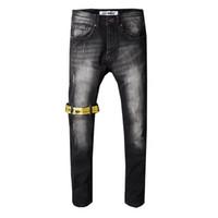 vaqueiro denim venda por atacado-Calças de brim dos homens de design jeans Mens Denim Reta Motociclista Jeans Skinny Calças Casuais Cowboy Famosa Marca Designer de Zíper de Venda Quente