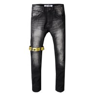 mens biker jeans fermuarlar toptan satış-Erkek kot tasarımcı kot Erkek Kot Düz Biker Skinny Jeans Rahat Pantolon Kovboy Ünlü Marka Fermuar Tasarımcı Sıcak Satış