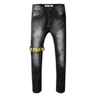 berühmte jeans großhandel-Mens jeans designer jeans Mens Denim Gerade Biker Skinny Jeans Freizeithose Cowboy Berühmte Marke Reißverschluss Designer Heißer Verkauf
