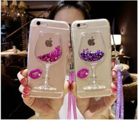 Wholesale iphone cases wine glasses for sale – best Luxury Bling Lip Wine Glass Quicksand Case Clear Soft TPU Case For iPhone Pro Max XR XS Max Plus G