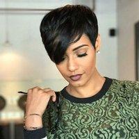 afrikalı amerikalı peruk patencileri toptan satış-Kısa Pixie İnsan Saç Peruk Yan Bangs için Afrikalı Amerikan Kadın Tutkalsız Perulu Kısa Pixie Cut Peruk 4 ila 6 İnç 130 Yoğunluk