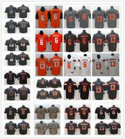 ingrosso marrone arancione jersey-Maglia da uomo Cleveland 6 Baker Mayfield cucita 2019 New Orange City Grey 13 Odell Beckham Jr. Browns Football Maglie Edizione Camicie