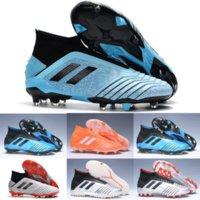 mavi çizmeler toptan satış-2019 Sıcak Altın Gümüş Predator 19 + FG AG TF PP Paul Pogba Erkek Futbol Boots Sky Blue Kaplama Alt 19.1 Yüksek Ayak Bileği Futbol Cleats Ayakkabı
