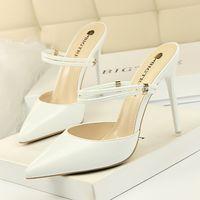 chaussures talons hauts strass rose achat en gros de-Hot Sale-femmes blanc talons hauts bout pointu talons d'été pantoufles d'été strass glisse chaussures femme zapatos de mujer pantoufles femmes