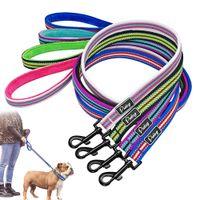 köpek evcil hayvan egzersiz pedleri toptan satış-4 Renkler Köpek Tasma Kurşun Naylon Yansıtıcı Pet Köpek Yürüyüş Kurşun Yumuşak Yastıklı Koşu Eğitim Tasmalar Halat Küçük Orta Köpekler Için
