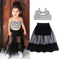 ingrosso abiti estivi di skirt nero-Completo da principessa, per bambina, da bambina, completo di camicia con scollo a barchetta e fiocco