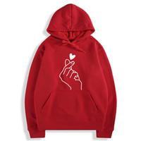 блузка для девочек с капюшоном оптовых-Толстовка Harajuku для женщин и толстовка с капюшоном Женская толстовка Pop Red Pink Love Heart Finger Hood Повседневные толстовки для женщин Девочек