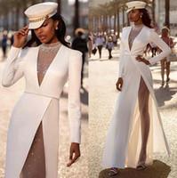 Wholesale elegant beaded prom dresses for sale - Group buy 2020 Elegant White Long Sleeves High Split Evening Dresses Sheer V Neck Satin Illusion Formal Party Prom Dresses Robe de soiree With Buttons