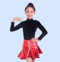 ingrosso abiti tango viola-vestito latino per bambini Rumba salsa abito da tango vestido latino ballo concorrenza rosso viola arancione MW M0044