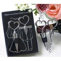Wholesale set wine favors resale online - Love Heart Corkscrew Wine Bottle Opener Wine Stopper Wedding Gift Favors for guests Bottle Opener Set Wedding Decoration