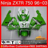 1997 ninja zx7r venda por atacado-Corpo Para KAWASAKI NINJA ZX-ZX ZX-7R ZX750 ZX 7R 96 97 98 99 28HC. ZX 7 R ZX 750 ZX7R 1996 1997 1998 1999 2000 Kit de Carenagem Preto Verde Quente