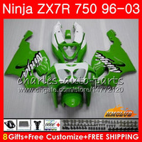 kit zx7r achat en gros de-Corps pour KAWASAKI NINJA ZX-750 ZX-7R ZX750 ZX 7R 96 97 98 99 28HC.0 ZX 7 R ZX 750 ZX7R 1996 1997 1998 1999 2000 Kit de carénage Hot Vert noir