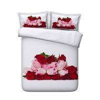 kırmızı gül kral yorgan seti toptan satış-Kırmızı Gül Çiçek Nevresim Set Aşk Kalp Yatak Örtüsü Yatak Örtüsü Kız Geometrik Yorgan Kapağı Pembe Çiçek Botanik Yatak Seti Galaxy yatak