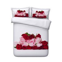 rosa rose 3d duvet bettwäsche großhandel-Red Rose Floral Bettbezug-Set Love Heart Bedspread Coverlet Mädchen Geometrische Tröster Abdeckung Pink Flower Botanical Bettset Galaxy Bedding
