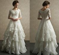 Wholesale camo bridal dresses for sale - Group buy Vintage Wedding Dresses Half Sleeves Organza Appliques Floor Length Bridal Dresses Bandage Wedding Gowns Indian Muslim Bridal Gowns