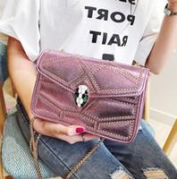 Wholesale cute cell phones for sale – best Factory brand women handbag cool patent snakehead Chain bag fashion rivet women shoulder bag sweet cute snakehead lock Handbag