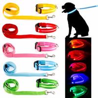 işıklı köpek tasması açtı toptan satış-Pet Köpek Yaka Aydınlık Köpekler tasma Aydınlık Yanıp Sönen Led Işık Koşum Naylon Güvenlik Tasma Halat pet malzemeleri küçük köpek yavrusu için c412