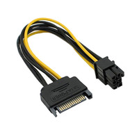 yükseltici adaptör toptan satış-Siyah 15 Pin SATA Güç 6 Pin PCI Express Yükseltme Kartı Adaptör Kablosu Güç Kaynağı Kablosu 20 CM