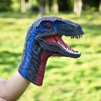 poupée en caoutchouc enfant achat en gros de-Dinosaur main marionnette caoutchouc tête de dinosaure Raptor tête fête Halloween décoration cadeaux poupée dessin animé dinosaure marionnettes à main pour enfants