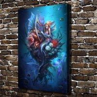 ölfarbe meerjungfrau großhandel-(Unframed / Framed) Harp Mermaid Leinwand, 1 Stücke Leinwand Wandkunst Ölgemälde Home Decor 24X36.