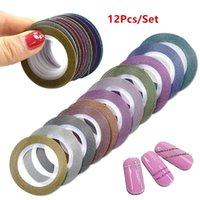ingrosso adesivi da 1 mm-12 Pz 1mm Glitter Nail Striping Tape Lines Decorazioni fai da te bellezza Art Stickers Nail Art