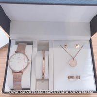 Wholesale crystal bracelet earring watch resale online - Designer Jewelry Set DW Quartz Watch Bracelet Stud Earrings Round Necklace Luxury Fashion Accessories Gift Box Packaging